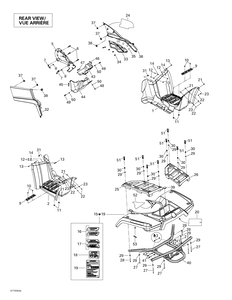 Zeichnung von Rahmen und Zubehör (hinten)