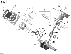 Zeichnung von Kurbelwelle, Kolben und Zylinder