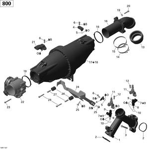 Zeichnung von Luftansaugkrümmer und Drosselklappe