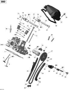 Zeichnung von Zylinderkopf (hinten)