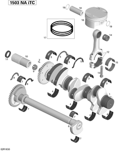Zeichnung von Kurbelwelle, Kolben und Ausgleichswelle - 155