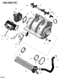 Zeichnung von Luftansaugkrümmer und Drosselklappe - 215